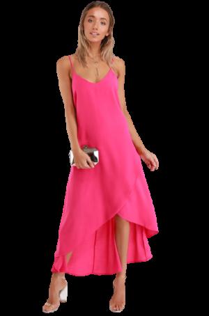 Lulus Bright Pink High Low Maxi Dress