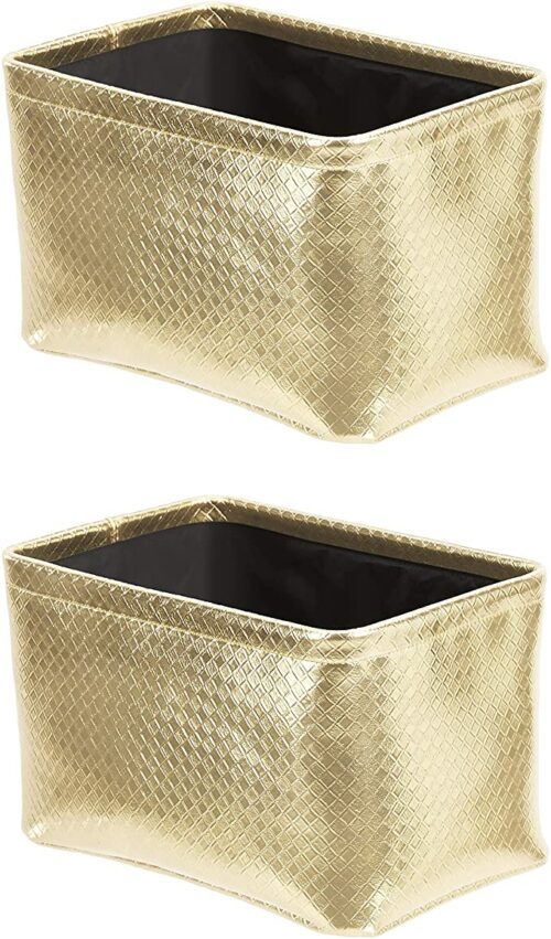 Metallic Gold Storage Bins