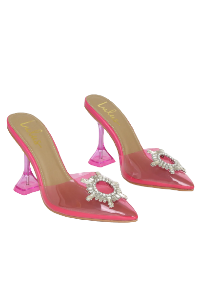 Pink Rhinestone Pointed-Toe Heels
