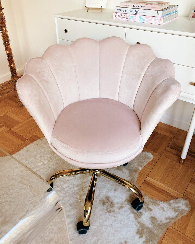 Amazon Pink Velvet Swivel Desk Chair