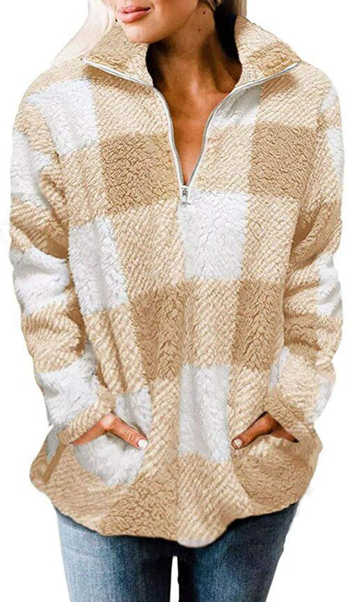 Plaid Sherpa Fleece Zip Sweatshirt