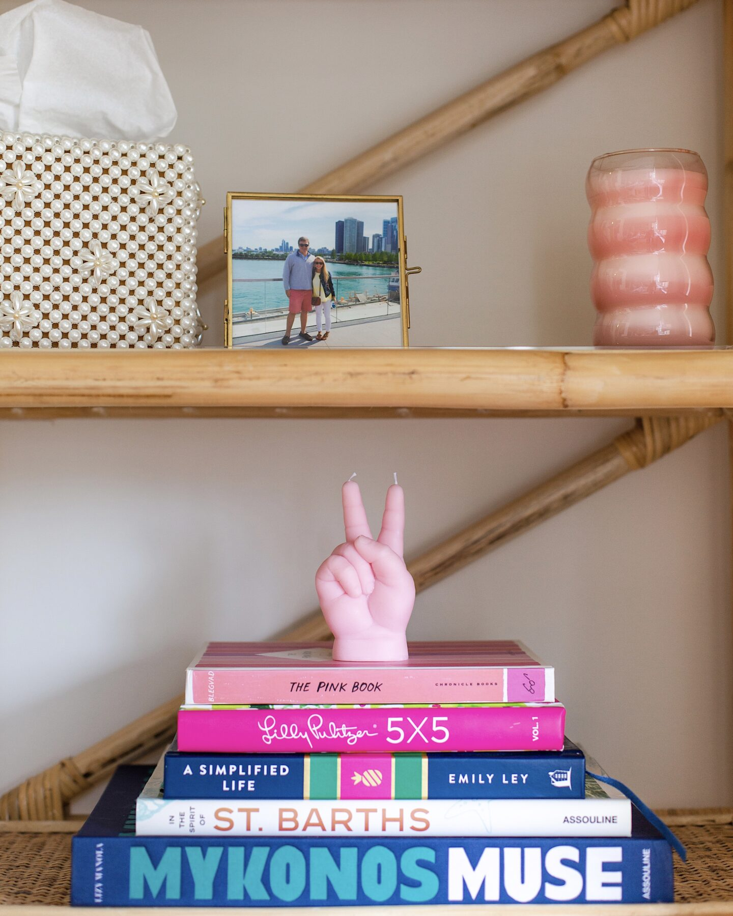 Styling rattan shelves in my office